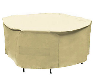 Mr. Bar-B-Q Premium Round Patio Set Taupe Cover — QVC.