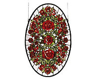 Meyda Tiffany Style Oval Roses Window Panel - H123695