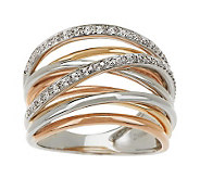 Tri-color Solid 14K Gold 1/10cttwDiamond Ten-band Highway Ring - J269000