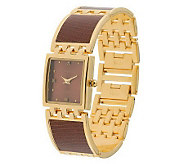 As Is Joan Rivers Embossed Leather Links Watch - J272600