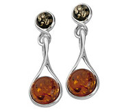 Sterling Orange and Green Baltic Amber Dangle Earrings - J311500