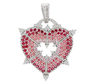 Judith Ripka Sterling Pink Diamonique Pave Heart Enhancer