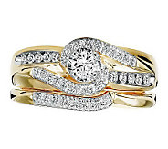 Affinity Diamond 1/2 cttw Twist Center Design Ring Set, 14K - J311404