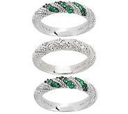 Judith Ripka Sterling Set of 3 Emerald & Diamonique Stack Rings - J156008