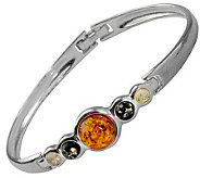 Sterling Multicolor Baltic Amber Hinged Bangle - J311508