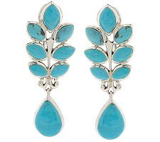 Sterling Turquoise Leaf Design Dangle Earrings