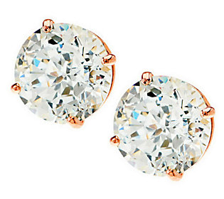 Diamonique 100-Facet 2.00 ct tw Stud Earrings, 14K Gold
