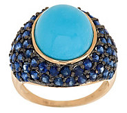 Sleeping Beauty Turquoise and Blue Sapphire Domed Ring 14K Gold - J280112