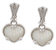 Judith Ripka Sterling Carved Mother-of-Pearl Heart Earrings - J144015
