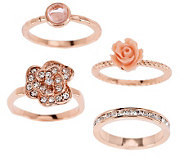 Susan Graver Set of 4 Flower Stack Rings - J274015