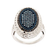AffinityDiamond 1.00 ct tw Blue and Black Oval Ring, Sterling - J273216