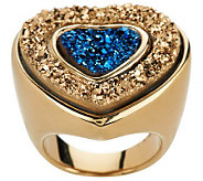 VicenzaGold Two-tone Heart Shaped Drusy Quartz Ring, 14K Gold - J264218