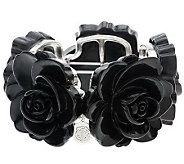 Susan Graver Carved Rose Stretch Bracelet - J266918