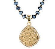 Joan Rivers Simulated Drusy Lotus Pendant on 48 Glass Bead Necklace - J278518