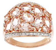 3.00 ct tw Morganite & 1/7ct tw Diamond Domed Ring, 14K - J275819