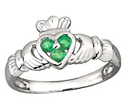 Solvar Ladies Emerald Claddagh Ring, 14K WhiteGold - J311320