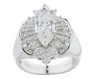Diamonique Sterling or 14K Gold Clad Marquise Ring - J152521