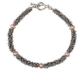Michael Dawkins Sterling Rondel & Cultured Pearl Toggle Bracelet