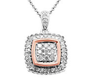 Affinity Diamond 1/4 cttw Cushion Pendant, Sterling & 18K Clad - J311022