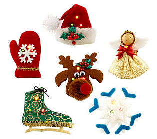 Set of 6 Holiday Brooch Set w/LED Lights
