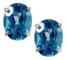3.95cttwOval London or Swiss BlueTopaz SterlingStud Earrings