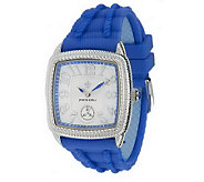 Judith Ripka Silicone and Stainless Steel Adjustable Watch - J270423