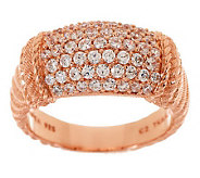 Judith Ripka Sterling or 14K Gold Clad Textured Pave Diamonique Ring - J272024