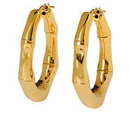 Veronese 18K Clad High Polished Bamboo Hoop Earrings - J299024