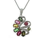 2.50 ct tw Tourmaline & White Topaz Pendant w/Chain, Sterling - J305725