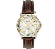 Bulova Mens Watch w/ Brown Leather Strap & Calendar Function - J109826