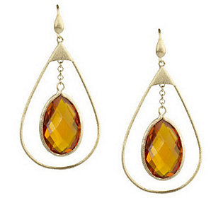 Rivka Friedman Open Teardrop Earrings with Crystal Drop