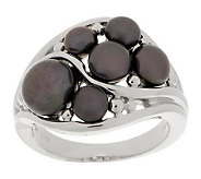 Honora Cultured Pearl Button Cluster Sterling Band Ring - J270026