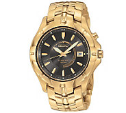 Seiko Mens Goldtone Kinetic Watch w/ CharcoalDial - J110628