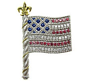 Judith Ripka Sterling Diamonique Flag Pin, 14KGold Plated - J310328