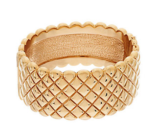 Bold Wide Large Quilted Texture Cuff, 14K Gold