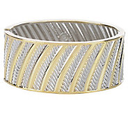 Susan Graver Two-Tone Rope Design Hinged Bangle - J268730