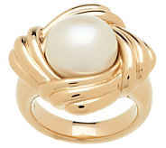 HonoraGold Cultured Pearl 12.0mm Button Textured Ring 14K Gold - J271731