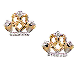 Disney Princess Tiara Stud Earrings, 14K Gold