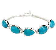 Multi-Shape Turquoise Sterling 7-1/4 Toggle Bracelet - J268332
