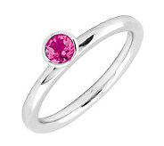 Simply Stacks Sterling 4mm Pink Tourmaline Sol.Stackable Ring - J298732