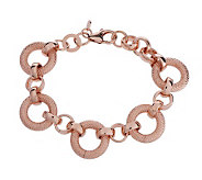 Bronzo Italia 7-1/4 Polished & Textured Circle Link Bracelet - J276135