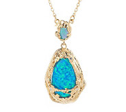 Smithsonian Simulated Opal Pendant Necklace - J274937