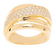 Diamonique Highway Ring Sterling or 14K Gold Clad - J268539