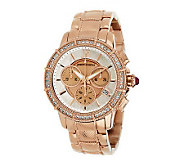 Judith Ripka Stainless Steel Chronograph Textured Watch with Diamonique - J269939