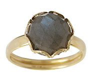 Faceted Round Labradorite Scallop Border Ring, 18K Gold - J159441