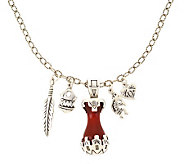 Southwestern Sterling Pottery Design Pendant &Charm Necklace - J110842
