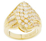Diamonique Sterling 14K Gold Clad Marquise Shape Pave Ring - J150843