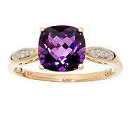 1.75 ct tw Uruguayan Amethyst and Diamond Accent Ring, 14K - J269143
