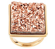 VicenzaGold Bold Rectangular Drusy Quartz Ring, 14K Gold - J270744