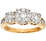 AffinityDiamond 1.00 ct tw 3-Stone Cluster Design Ring, 14K - J274350